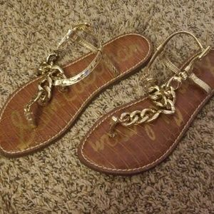 San Edelman Grella Gold Chain Sandals 6